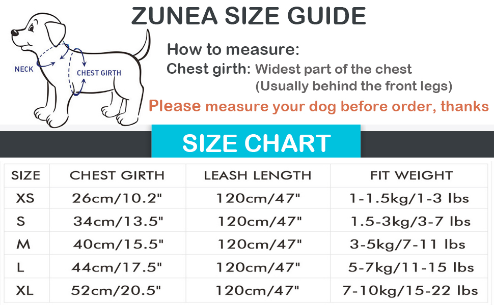 puppy dog harness size guide