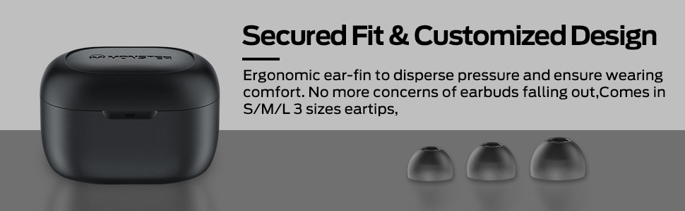 Secured Fit& Customized Design Ergonomic ear-fin to disperse pressure and ensure wearing comfort.