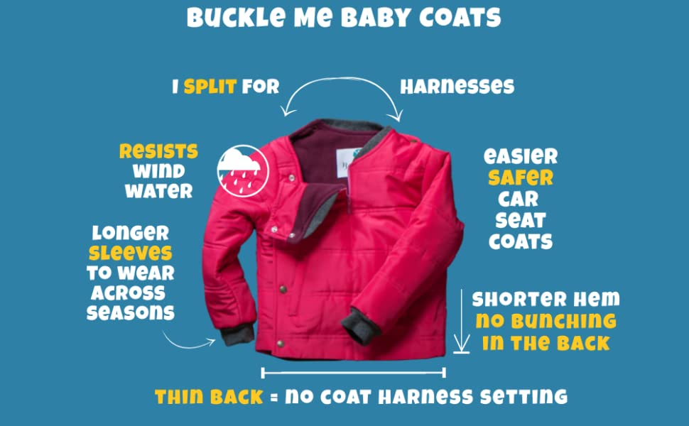 Buckle Me Baby Coats Car Seat Winter Jacket Toddler Boy Girl Blue 3T