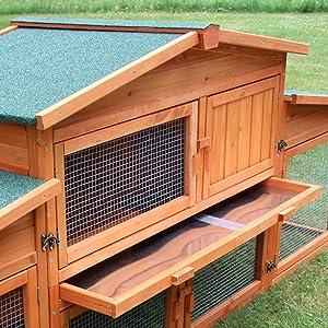 zooprinz Freilaufgehege Hasenstall mit Schublade Kotschublade Kaninchenstall zooprinz groß xxl
