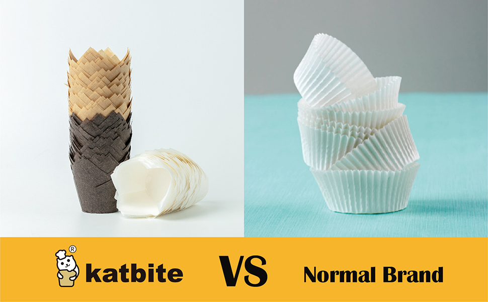 Katbite Tulip Cupcake liners 200pcs, Muffin liners for Cupcake, Baking Cups