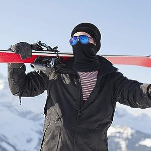 Sportivo Sciarpa Termico Maschere Viso Moto Snowboard Multifunzione-Nero Tubolare Invernale Unisex Donna Uomo Collare Antivento EasyULT 45cm Lungo Cappello Scaldacollo Pile Elastico
