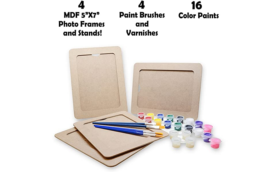 VHALE DIY Paint Your Own Photo Frames (5 x 7 inch) Classroom Arts and Crafts, Party Favors for Kids