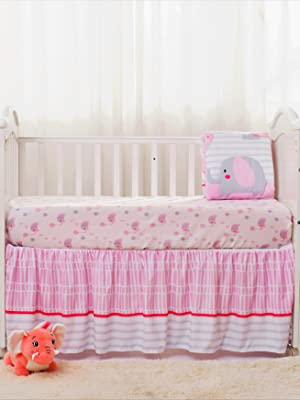 Introducing La Premura Pink Elephant Baby Crib Bedding Set for girls