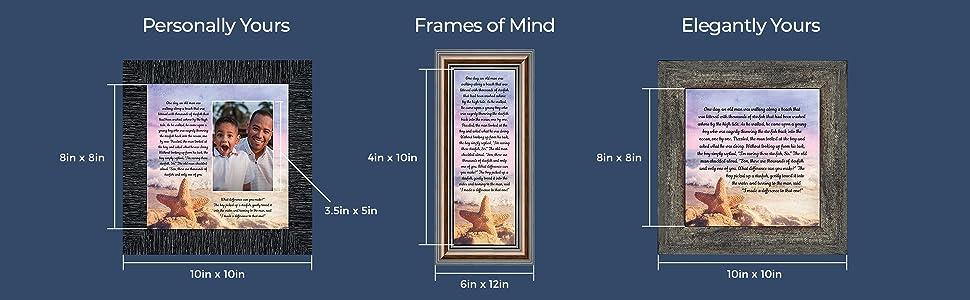 Personally Yours 8x8, 10x10, 3.5x5. Frames of Mind, 4x10, 6x12, Elegantly Yours 8x8 10x10