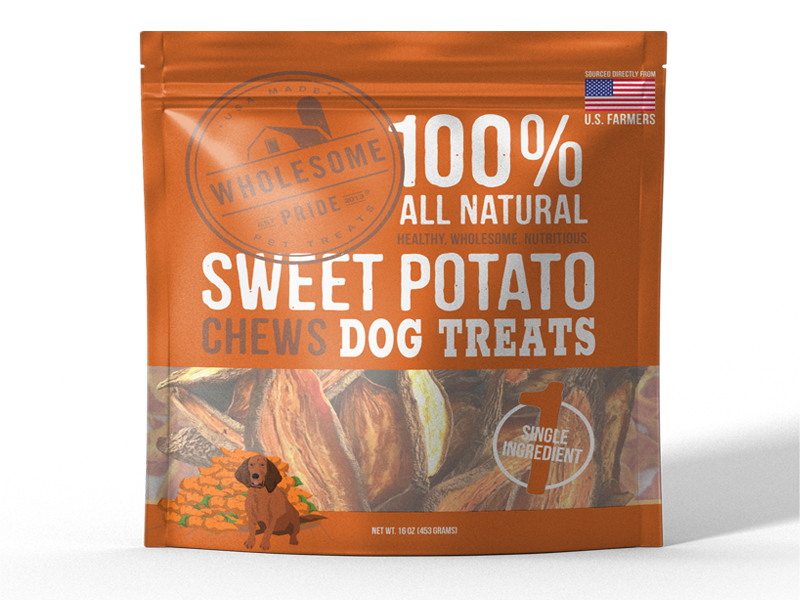 wholesome pride, sweet potato dog treats, healthy dog treats, vegan dog treats, gluten free dog