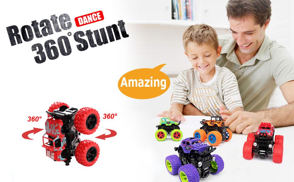 360 degree stunt monter car truck set for kids