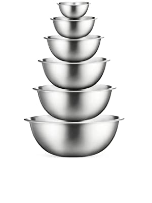 Premium Stainless Steel Mixing Bowls (Set of 6) Stainless Steel Mixing Bowl Set - Easy To Clean, Nesting Bowls for Space Saving Storage, Great for ...