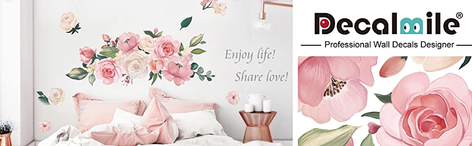 Pink poney rose flower wall art stickers living room