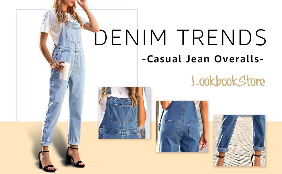 women's casual denim overalls ladies loose jean jumpsuit pants