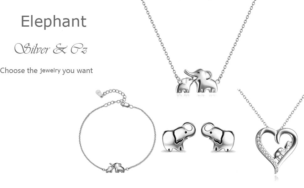 YFN Elephant Pendant Necklace Earrings Bracelet Sterling Silver Ear Studs  for Women Girls