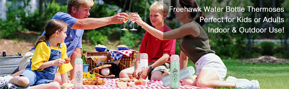 Freehawk Water Bottle Thermoses - Perfect for Kids Adults Indoor Outdoor Use!