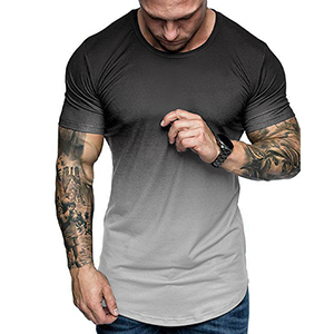 MENS MUSCLE T-SHIRTS Gradient Color SHORT SLEEVE GYM TEES GREY WHITE