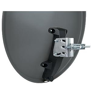 SCHWAIGER -166- Antena satelital | antena satelital con brazo de soporte LNB y montaje en mástil | antena satelital de acero | 75 x 85 cm