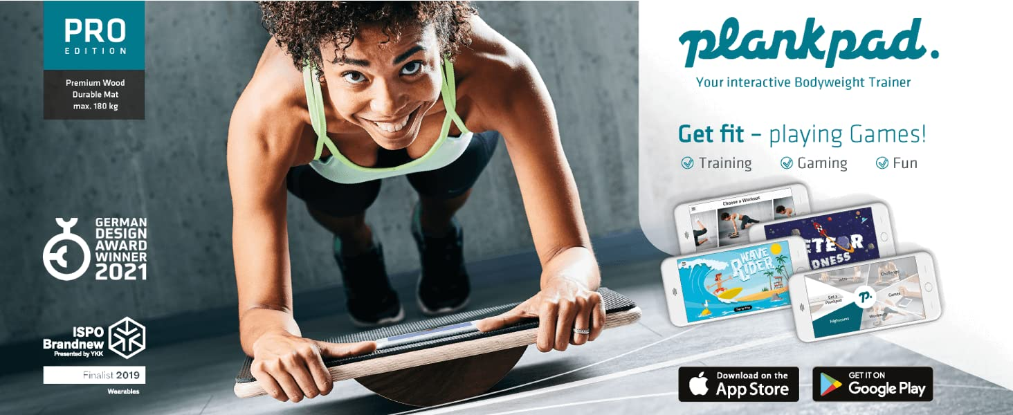 Plankpad interactive Balance Board for planking, to train all muscles at the same time while playing