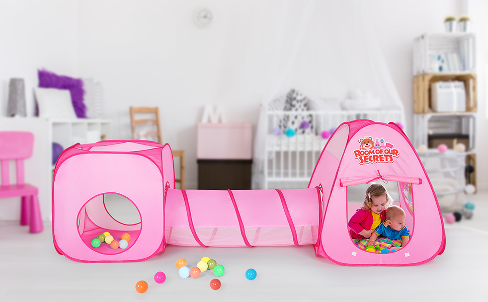 Outdoor Gioco e Play Tent Cubby Tube Tenda per Bambini Ragazzo Ragazza Authentic Maker Tenda Gioco per Bambino,3 in 1 Tunnel Tenda Bambini Tende per Bambini Pieghevole Sistema Pop-UP Indoor