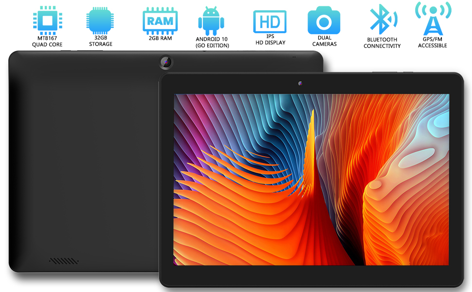 features 2gb of RAM, 32GB of storage, Android 10 OS, dual cameras, Bluetooth, GPS/FM, Quad core chip