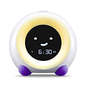 Bright Purple MELLA Sleep Trainer on Play Mode with Yellow Light