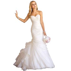 Women S Sweetheart Ruched Organza Bridal Gown Mermaid Wedding
