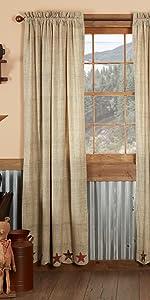 Abilene Star Curtain primitive country rustic Americana VHC Brands window panel prairie swag tier