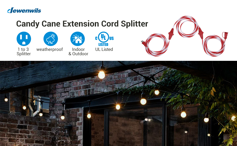 DEWENWILS Evenly Spaced 3 Outlet 25 Ft candy cane Outdoor Extension Cord Weatherproof Wire UL Listed