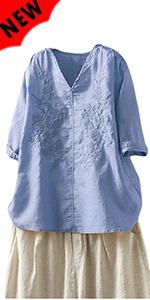 Linen Embroidery Blouse V-Neck Tunic Elbow Sleeve Shirts Tops