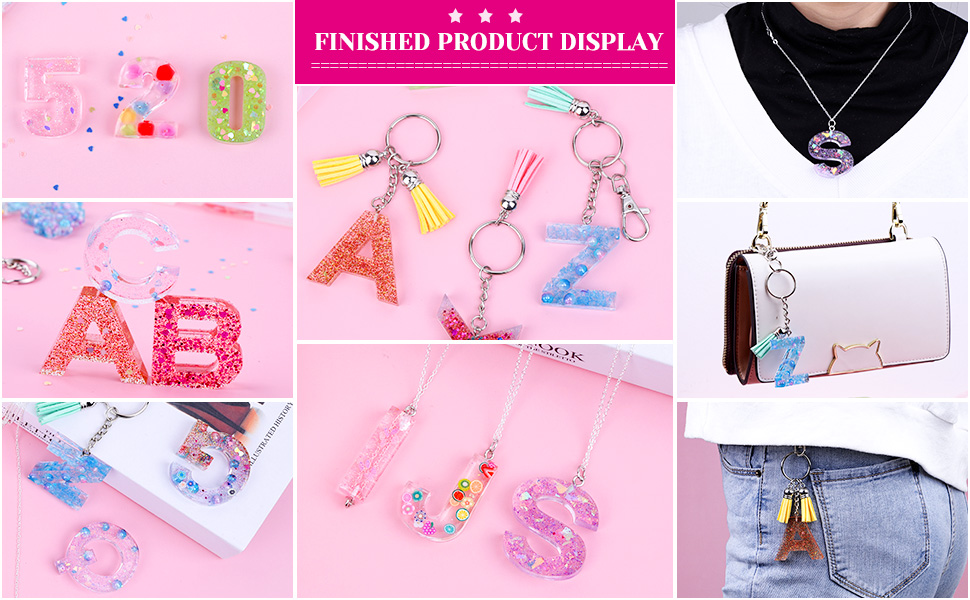 Epoxy Resin Shynek Silicone Resin Kit with Alphabet Mold Keychain Tassels and Pin Vise Set for Resin Casting Keychain Making Resin Keychain Molds