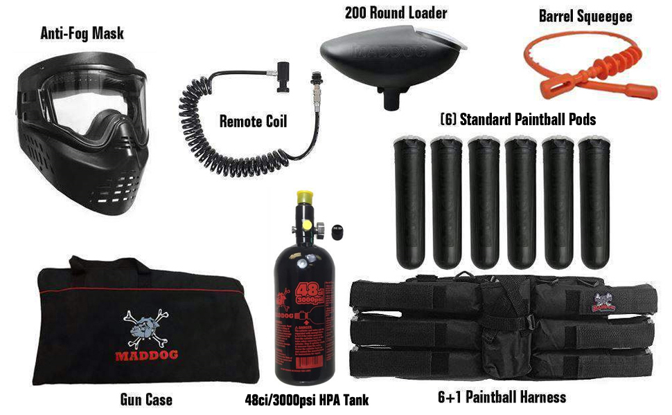 Maddog Paintball Gun Marker Accessory Package Gear HPA Paintball Tank Pods Remote Coil Hopper Loader