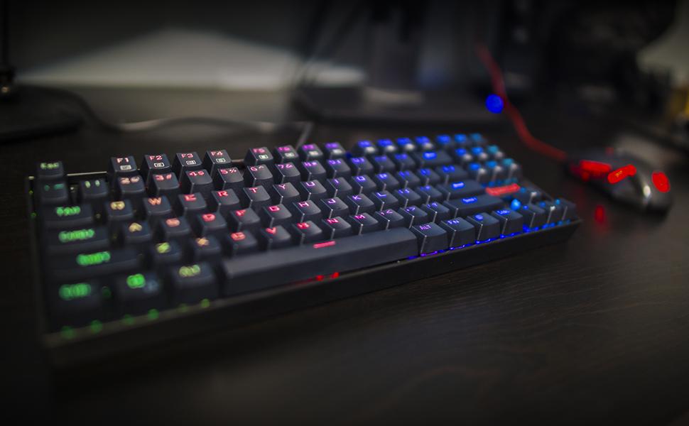 Redragon K552 RGB KUMARA Teclado Gaming Mecánico Tenkeyless, Interruptores azules, Reforzado, Retroiluminado RGB Distribución Española - Color Negro - ...