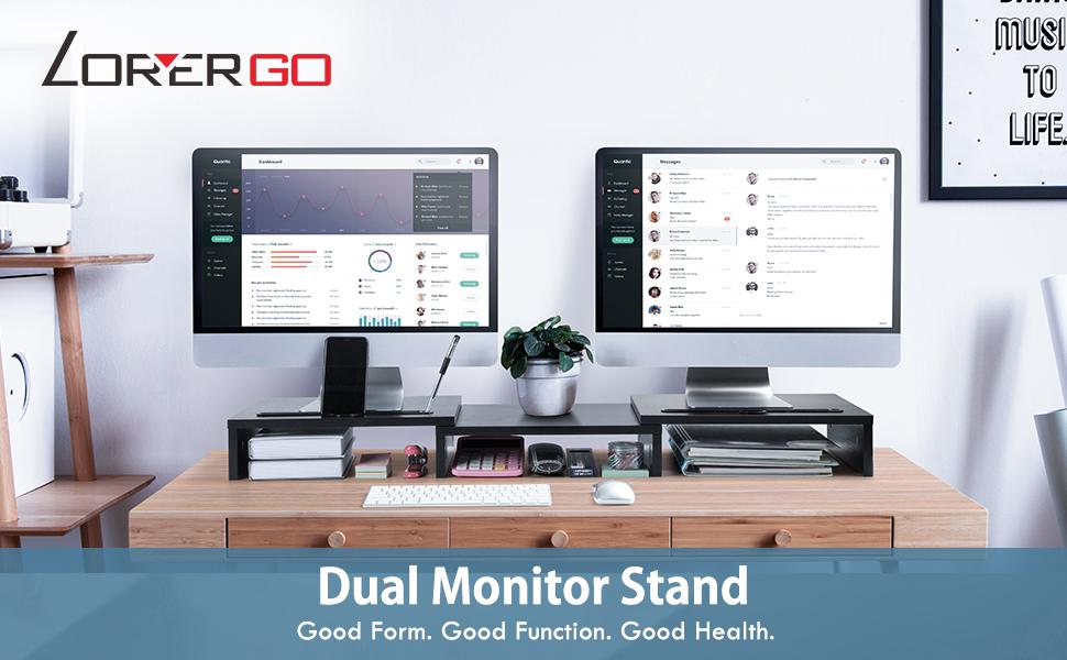 LORYERGO Dual Monitor Stand Riser with Storage Slot