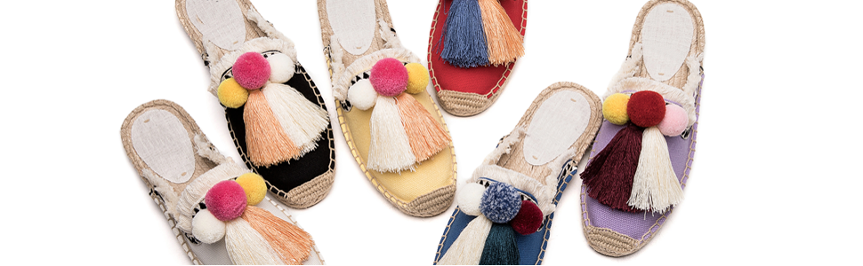 Tassel & pompom Features:  These flat mule slippers feature frayed edge, breathable and cool
