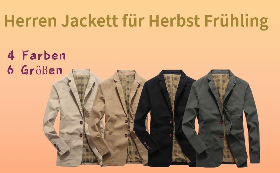 Allthemen Sakko Herren Sportlich Slim Fit Jackett f/ür Freizeit Blazer Sportsakko