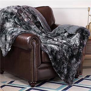 Faux Fur Reversible Tie-dye Sherpa Blanket 5