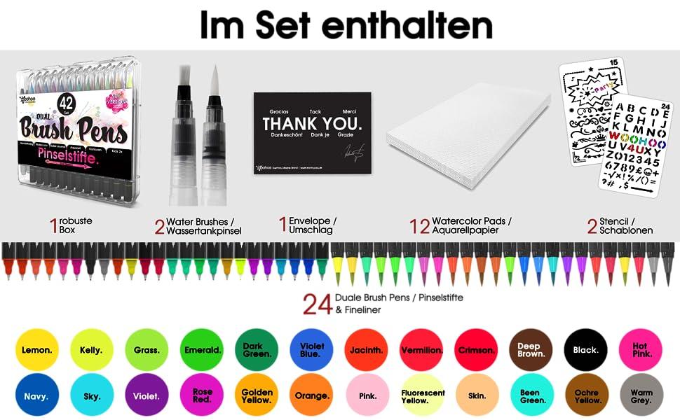 brush pen set Pinselstifte-Wassertankpinsel-Aquarellpapier set woohoo4u