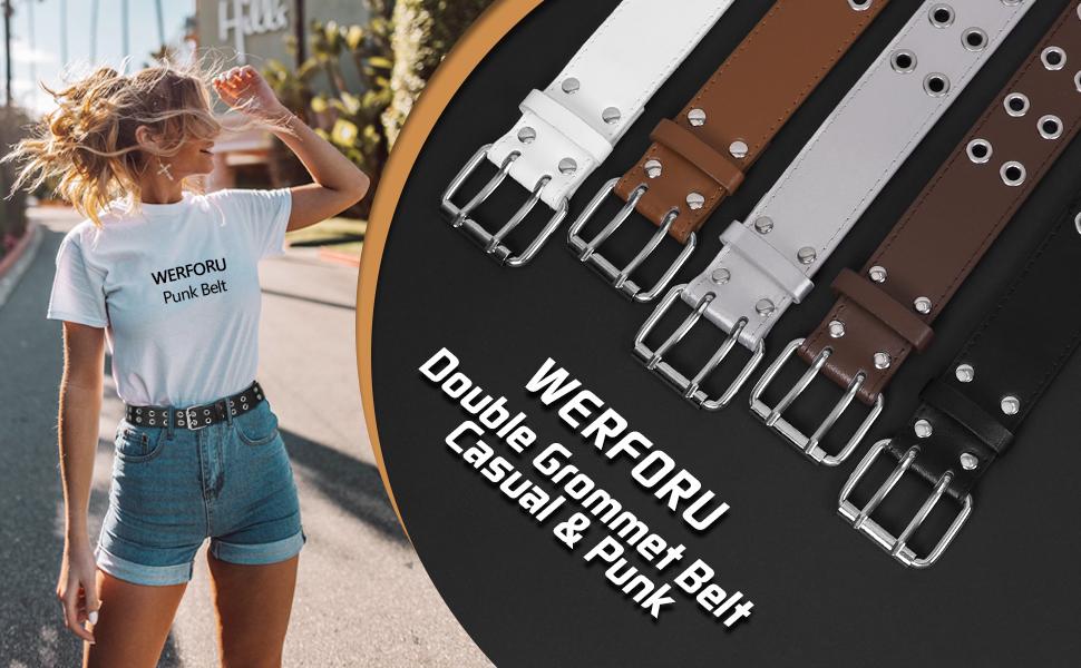 Fashion Women Men Punk Wide Hole Grommet Leather Belt with Metal Chain US