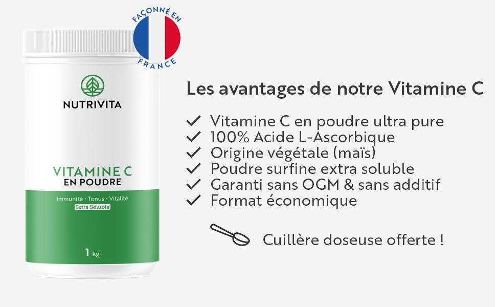 vitamine c pure poudre pot vit c 1kg