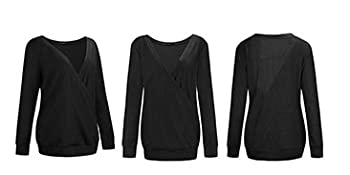 Wrap Front Knit Top long sleeve sweater tops deep v sweat shirt ladies oversize sweater long sleeve