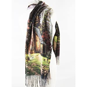 floral woven large poncho oversize fringe color multi soft warm lightweight wrap stole scarf shawl