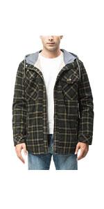 Button Down Hooded Buffalo Plaid Flannel Shirt Jacket