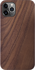 iATO iPhone 11 Pro Case. Real Natural Dark Walnut Wood Cover. Minimalistic Slim Open Top Bottom