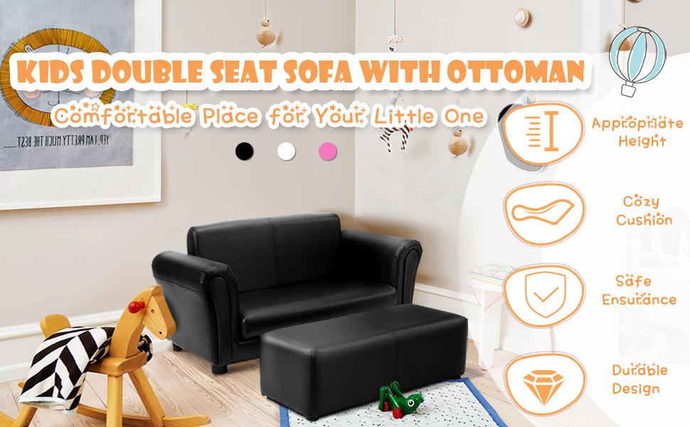 kids sofa double seat with ottoman