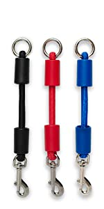 small jerk-ease bungee dog leash collar harness attachment extension extender black red blue