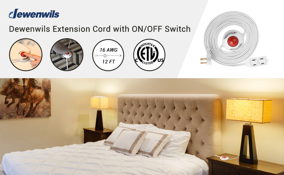 DEWENWILS 12 FT Extension Cord with ON/OFF Switch, Step on Foot Switch Power Cord 2-Prong 3 Outlets
