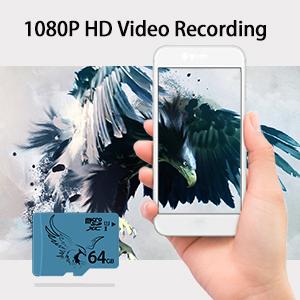 BRAVEEAGLE 64GB Tarjeta de Memoria SD MicroSD Clase 10 para Wyze CAM/Galaxy Note (64GB U1)