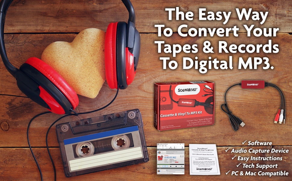 Cassette Tape and Vinyl Record to MP3 Kit