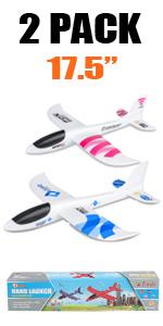 2 white airplane toys