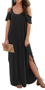 Women's Summer Long Dress Strapless Strap Cold Shoulder Short Sleeve Split Maxi Dresses with Pocket