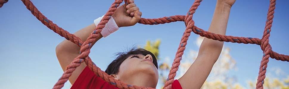 Aoneky Red de Escalada para Niños Plantas - 100×200cm Red para Trepar, Cuerda Trenzada de Poliéster, Juguete Infantil para Escalar, Juego Exterior ...