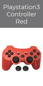 PS3 Controller Wireless Bek Joystick Thumb Grips Remote Double Shock Gamepad Sony Playstation 3 Red