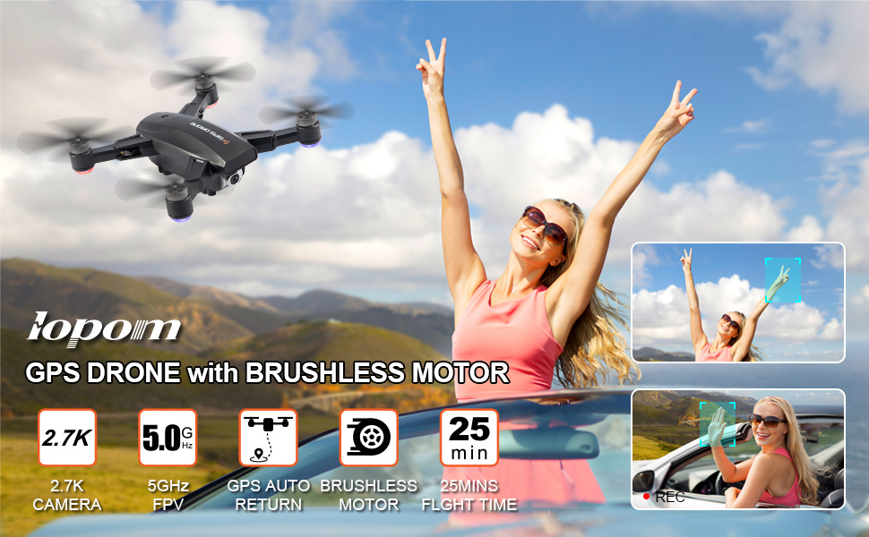Foldable 5G WiFi FPV Transmission Live Video with Brushless Motor,50mins Flight Time 500m Control Range,Auto Return Follow Me Quadcopter for Beginner GPS Drone with 2.7K UHD Camera for Adults